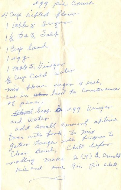 Handwritten Recipe For Egg Pie Crust