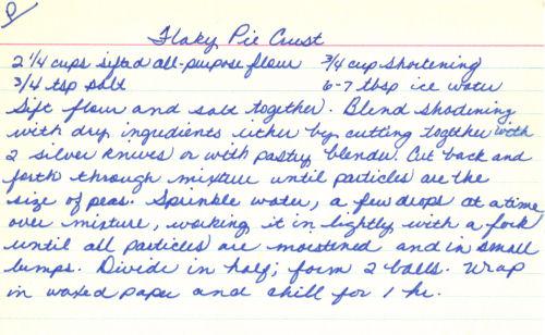 Handwritten Recipe Card For Flaky Pie Crust