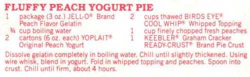 Recipe Clipping For Fluffy Peach Yogurt Pie