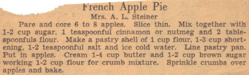 Recipe Clipping For French Apple Pie
