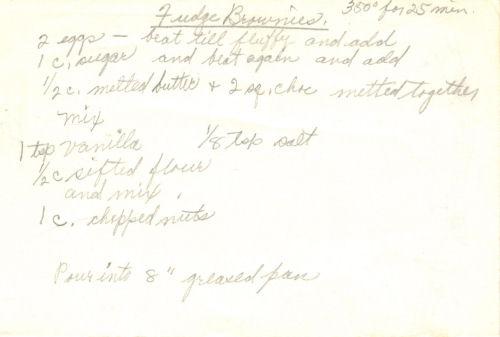 Handwritten Recipe For Fudge Brownies