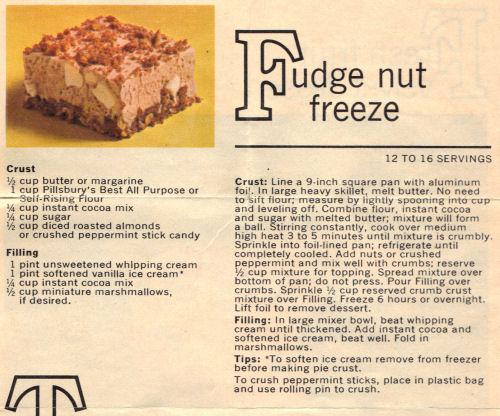 Recipe Card For Fudge Nut Freeze