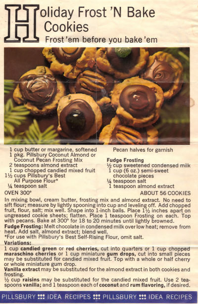 Vintage Recipe Sheet For Frost 'N Bake Cookies