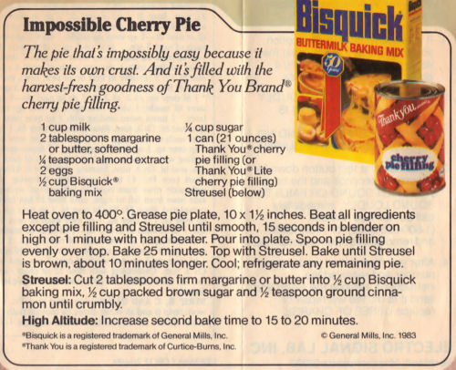 Recipe Clipping For Impossible Cherry Pie