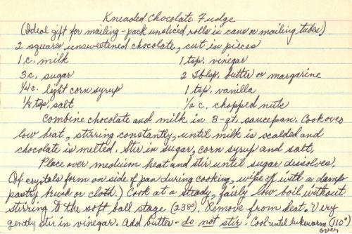 Handwritten Recipe Card For Kneaded Chocolate Fudge