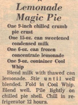 Recipe Clipping For Lemonade Magic Pie