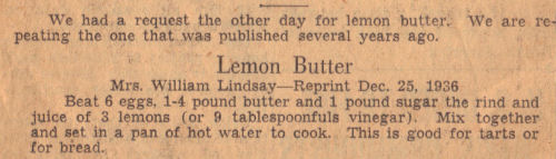 Vintage Recipe For Lemon Butter