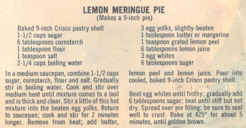 Recipe Clipping For Lemon Meringue Pie