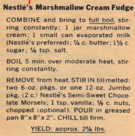 Recipe Clipping For Marshmallow Cream Fudge