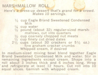 Recipe Clipping For Marshmallow Roll