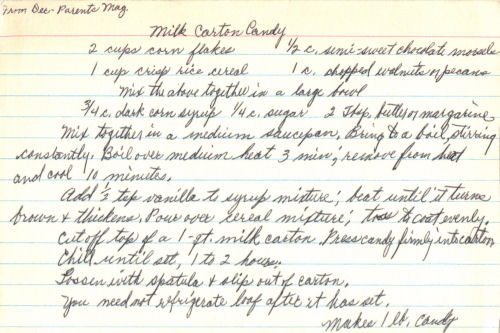 Handwritten Recipe For Milk Carton Candy