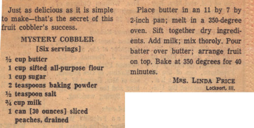 Recipe Clipping For Mystery Fruit Cobbler
