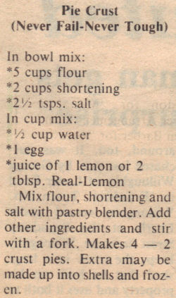 Recipe Clipping For Never Fail Pie Crust