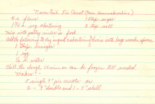 Handwritten Recipe For Never Fail Pie Crust