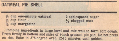 Recipe Clipping For Oatmeal Pie Shell