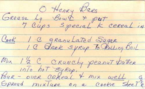 Handwritten Recipe For O Henry Bars