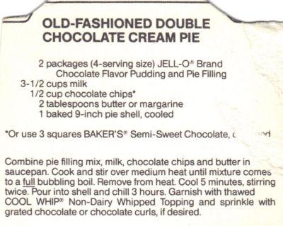 Recipe Clipping For Double Chocolate Cream Pie