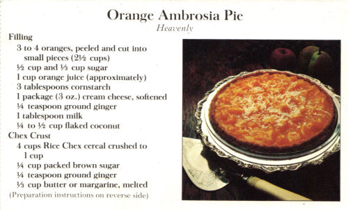 Recipe Card For Orange Ambrosia Pie