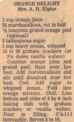 Recipe Clipping For Orange Delight