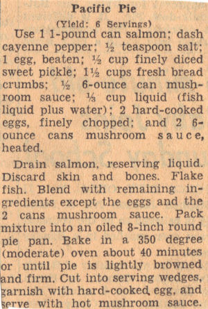 Vintage Recipe Clipping for Pacific Pie