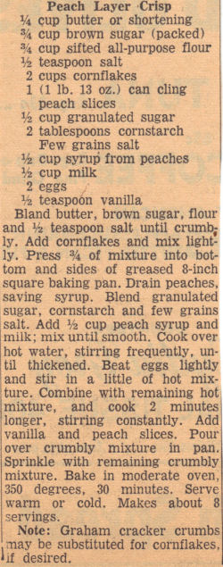 Recipe Clipping For Peach Layer Crisp