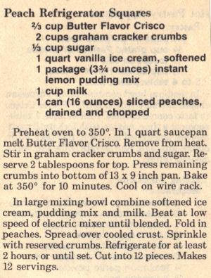 Recipe Clipping For Peach Refrigerator Squares