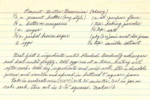 Handwritten Recipe Card For Peanut Butter Brownies