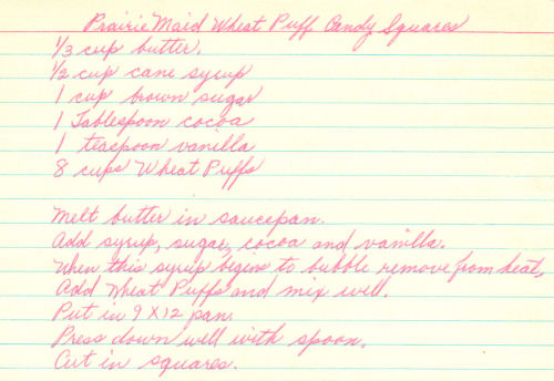 Handwritten Recipe Card For Wheat Puff Candy
