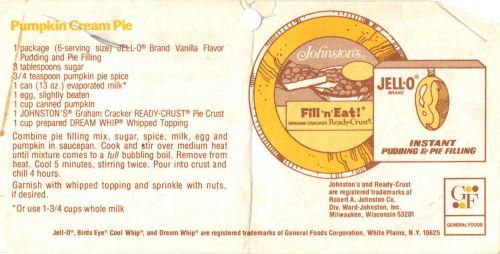Vintage Recipe For Pumpkin Cream Pie