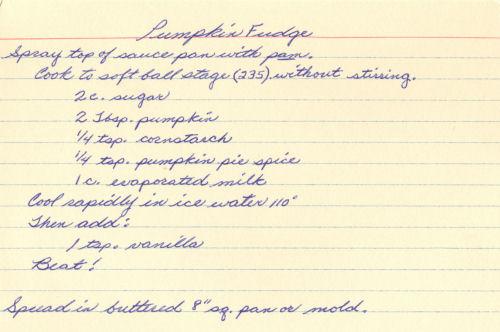 Handwritten Recipe Card For Pumpkin Fudge