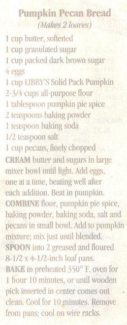 Recipe Clipping For Pumpkin Pecan Bread