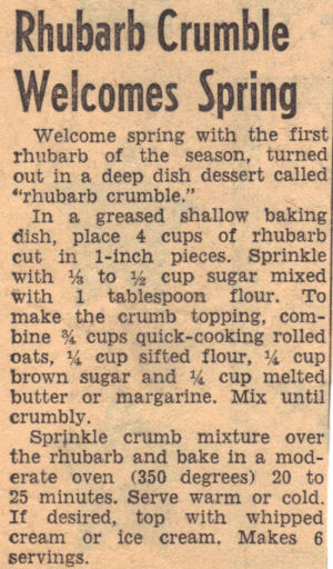 Recipe Clipping For Rhubarb Crumble