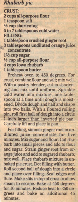 Recipe Clipping For Rhubarb Pie