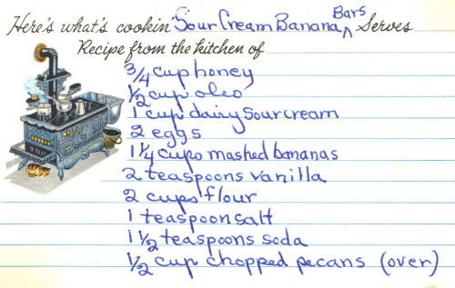 Handwritten Recipe Card For Sour Cream Banana Bars