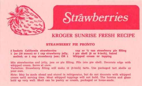 Recipe Slip For Strawberry Pie Pronto