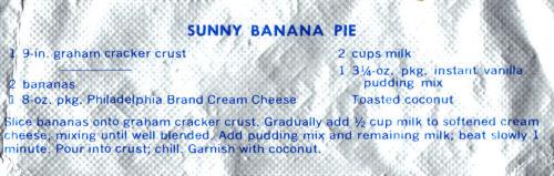 Recipe Clipping For Sunny Banana Pie