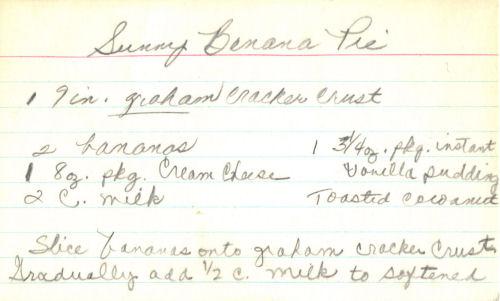 Handwritten Recipe Card For Sunny Banana Pie
