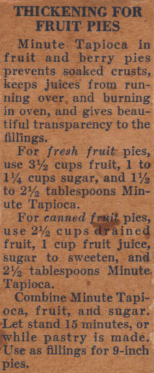 Recipe Clipping For Fruit Pie Thickening