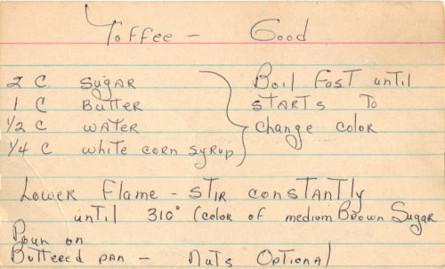 Handwritten Toffee Recipe Card