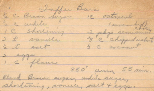 Handwritten Recipe Card For Toffee Bars