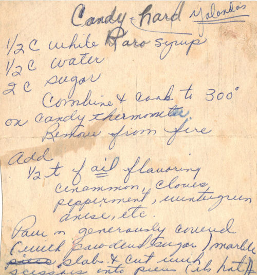 Handwritten Recipe For Hard Candy