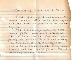 Cranberry Horseradish Relish Handwritten Recipe - Click To View Large