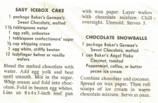 Baker's German's Sweet Chocolate Recipe Slip, Front - Click To View Large