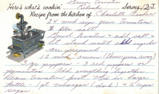 Green Tomato Relish Handwritten Recipe Card - Click To View Larger