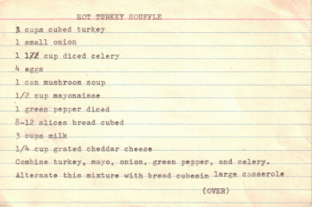 Hot Turkey Souffle Recipe Card - Click To View Larger Image