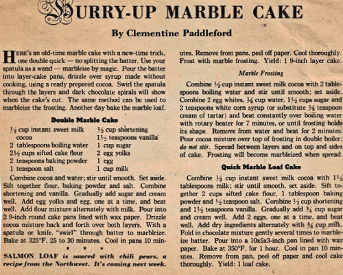 Hurry-Up Marble Cake By Clementine Paddleford