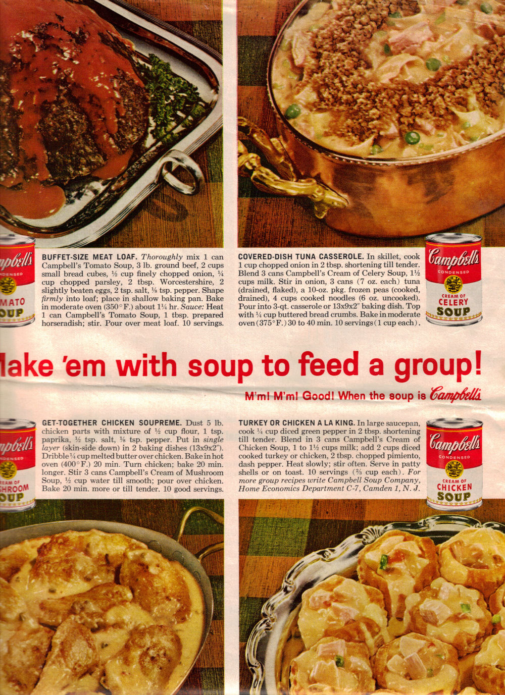 4 Campbell S Soup Meal Recipes Meat Loaf Tuna Casserole Amp 2 Chicken Dishes 171 Recipecurio Com