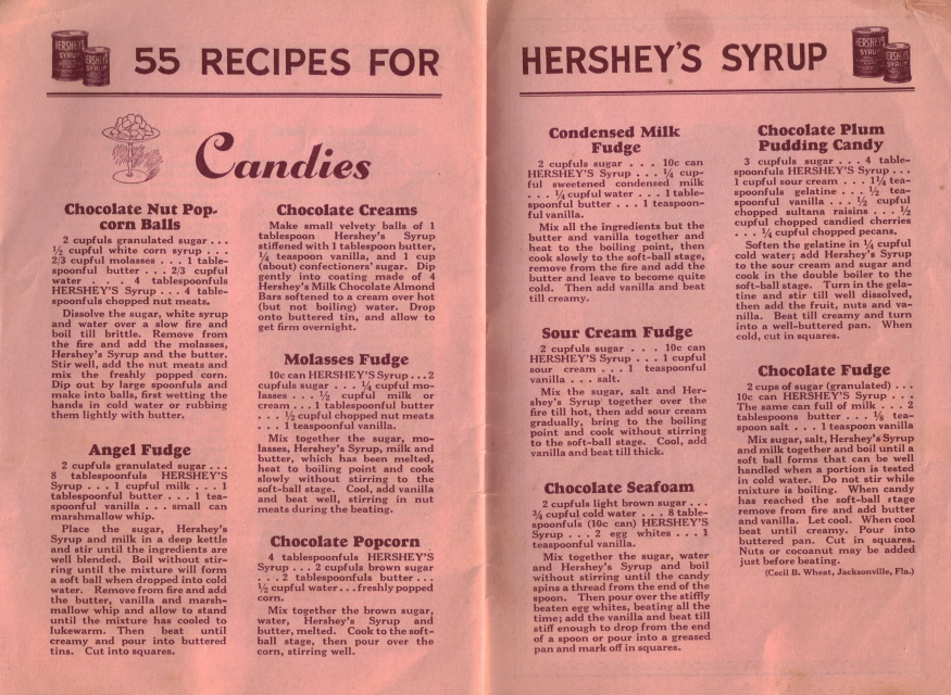Candies 55 Recipes For Hershey S Syrup Vintage Booklet Recipecurio Com