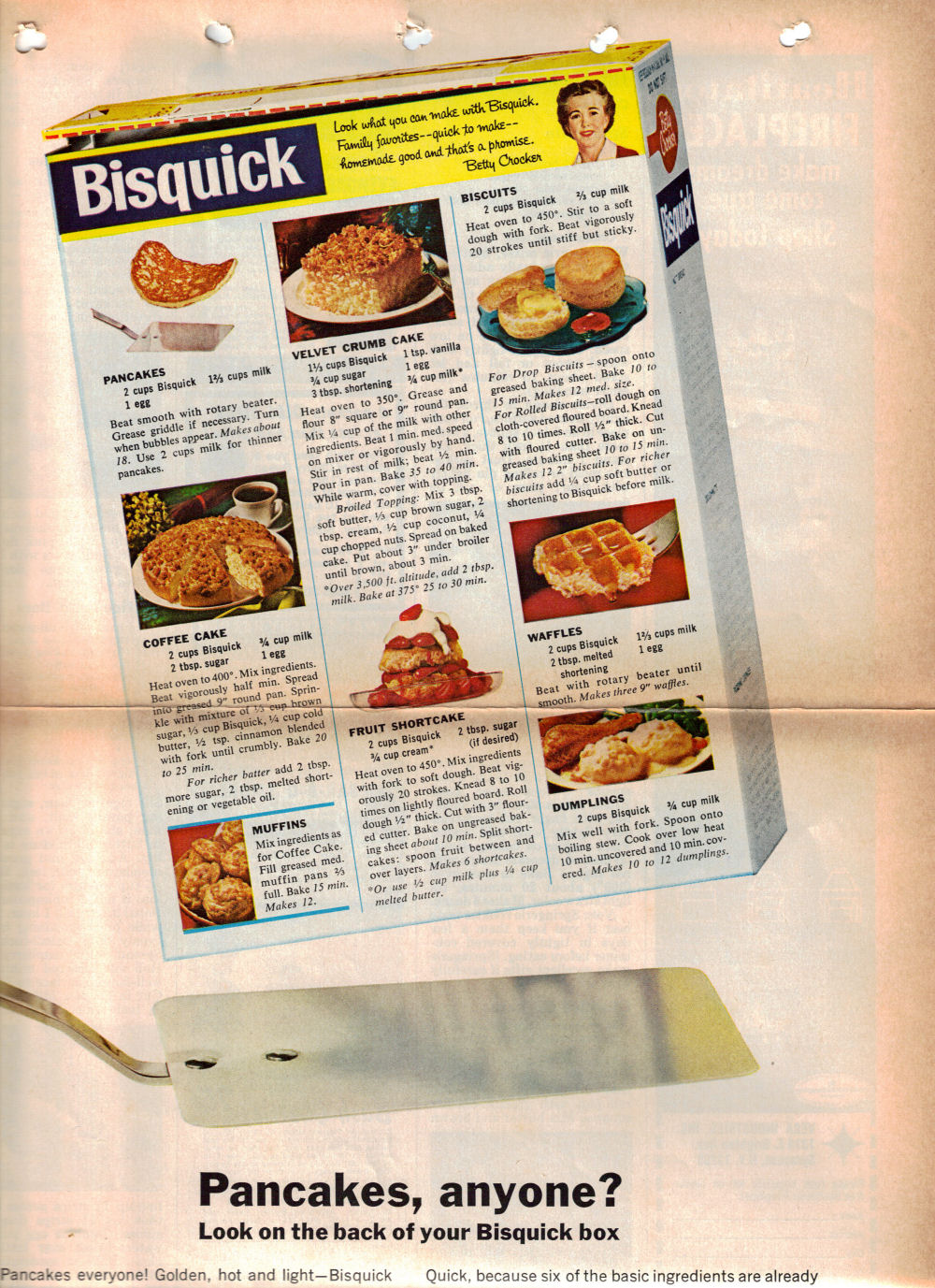 8 Bisquick Box Recipes Vintage Recipe Clipping