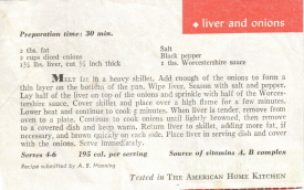 Liver and Onions Recipe Clipping - Click To View Larger
